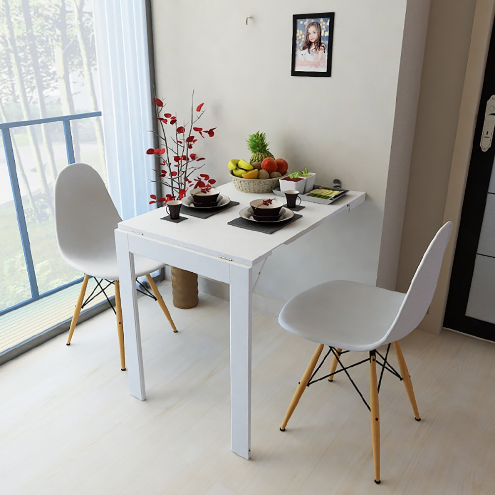 Folding Table Wall Mounted Table Folding Tabel Drop-leaf Kitchen Dining Table Desk Wall Hanging Side Table White (Size : 74*45cm) ZJM