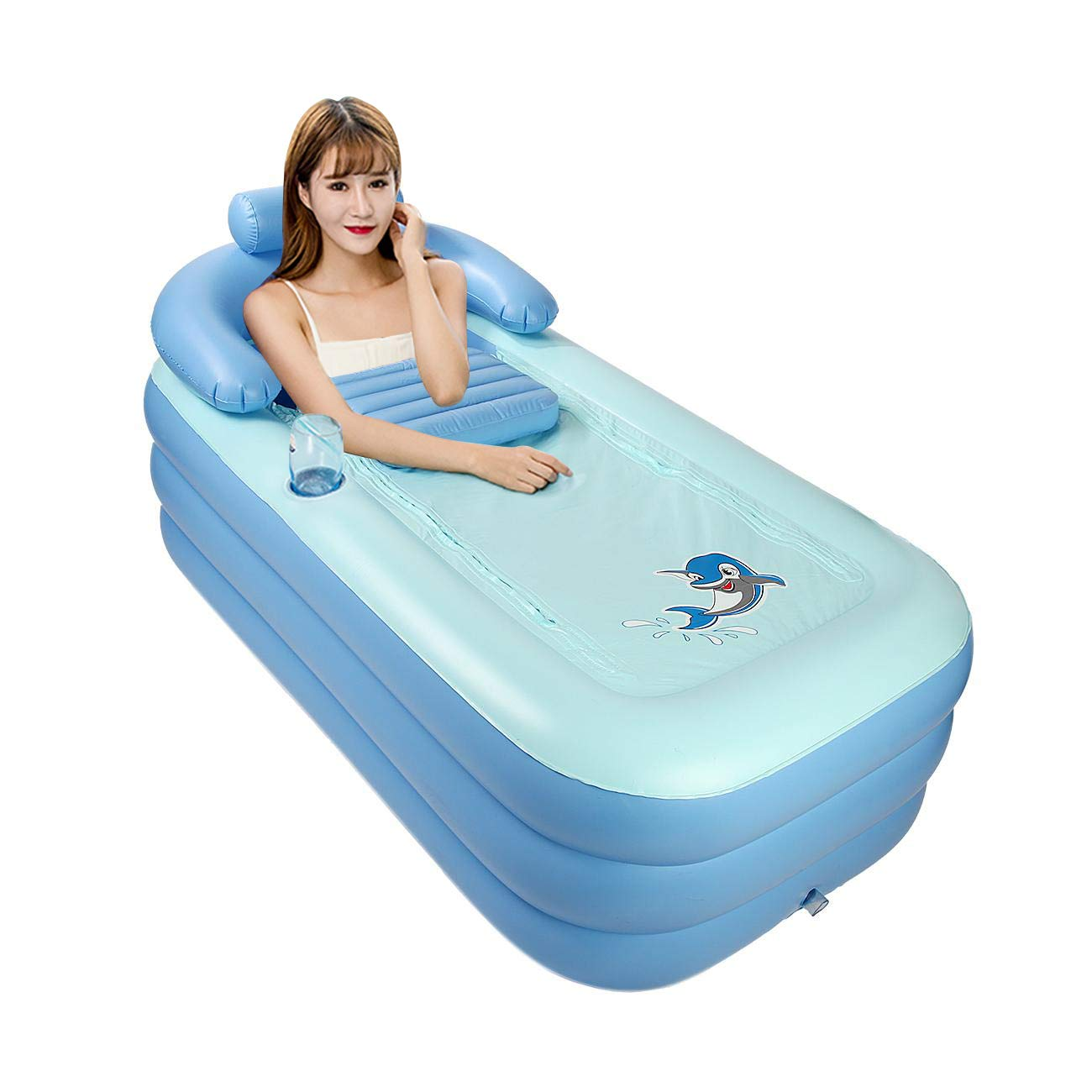 1608464cm WICHEMI Inflatable Bath Tub PVC Portable Foldable Adult Soaking Tub Shower Basin Free Standing Bathtub Home SPA Bath Equip with Electric Air Pump