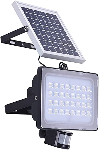 50W Solar LED Flood Lights, Outdoor Motion Sensor Security Lighting, Wireless Solar 5000 Lumen Cool White 6000K IP65 Waterproof Street Light for Yard Garden Garage Patio Porch