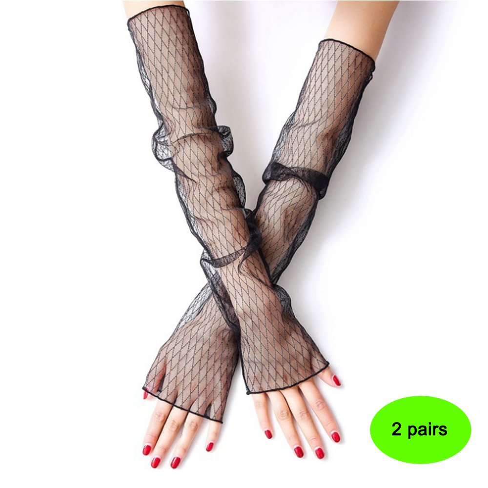 summer, 2 pairs New net gauze ice sleeve female summer lace anti-ultraviolet thin long-sleeved cycling gloves driving sunscreen cuff