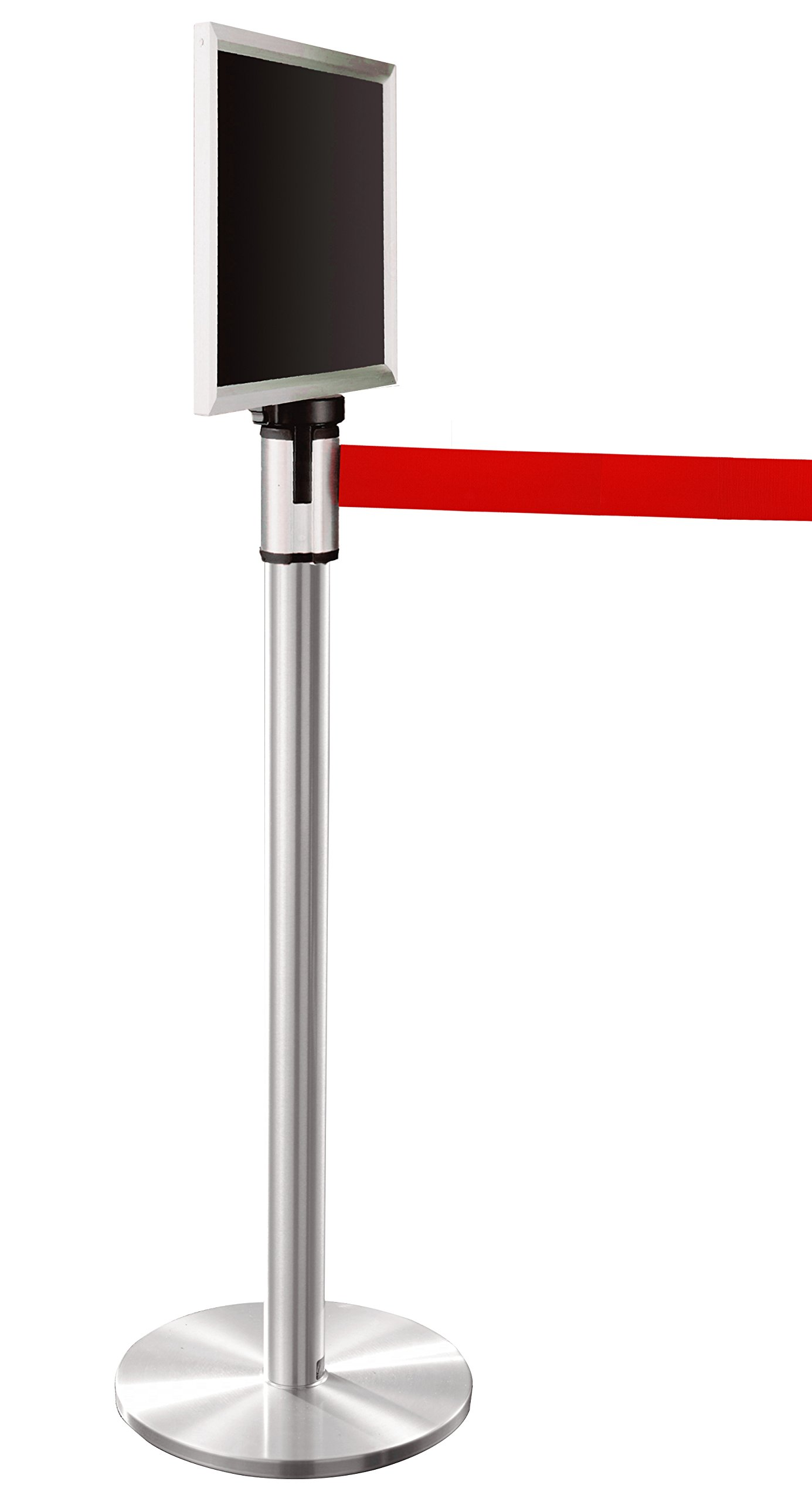 Glaro 152SA-RD-EXL1411SA 13' Retractable Belt Crowd Control Post - Satin Aluminum finish - Red Belt - Satin Aluminum Sign Frame Included