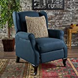 Product review for Domingo Traditional Winged Navy Blue Fabric Recliner