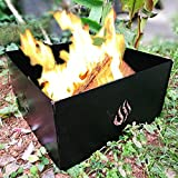 SILVERHERO Outdoor Foldable Campfire Fire Pit Ring 4 Panels Carry Bag, Stackable Heavy Iron Finished High Temperature Paint, Black