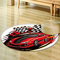 Print Area rug speeding racing car with checkered flag racetrack design  Perfect for any Room, Floor Carpet -Round 55