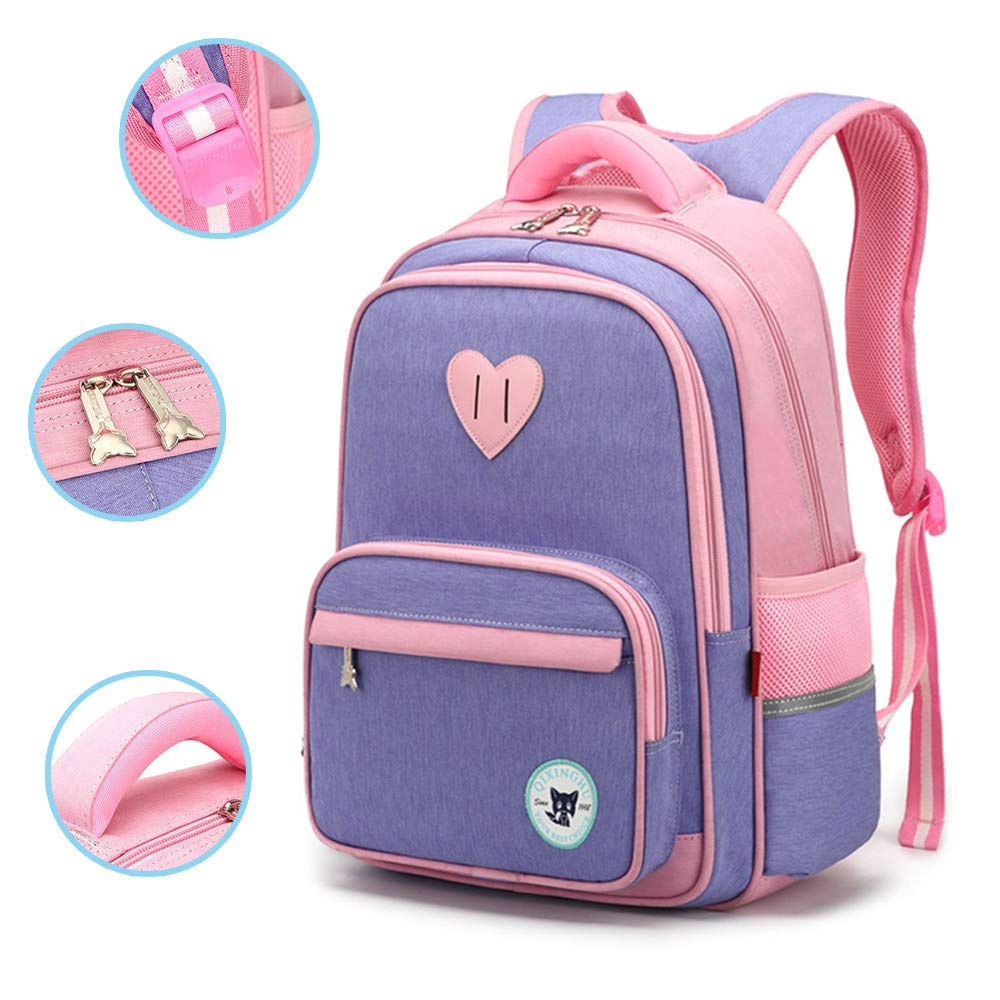 Elementary kids backpack book bag waterproof Multi-pockets reflective strips school bags for Girls in Primary Junior High School (Purple),S-Purple by ZLYCZW
