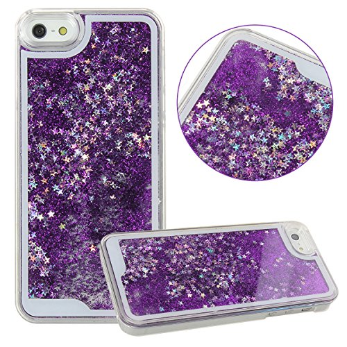 Eforstore Sparkly Cases for iPhone 5s Flowing Liquid Water iPhone 5 Case Bling Glitter Stars Fantasy Shiny Case Cover for Apple iPhone 5 5s (Dark Purple)