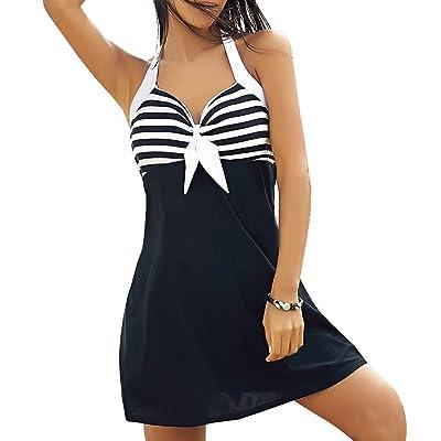 Hrph Mode Mini Robe Rayée de Sundress Maillot Une Pièce Maillot de Bain Femme Robe Licou