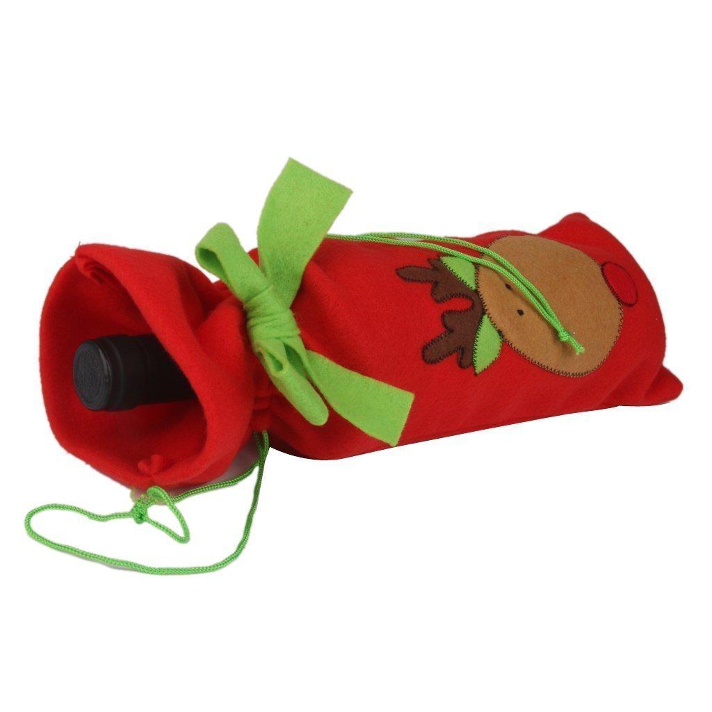 Sungpunet Lot de 3/pochettes de No/ël pour bouteille de Vin Emballage cadeau /À cordon Motif P/ère No/ël sapin D/écoration de table renne