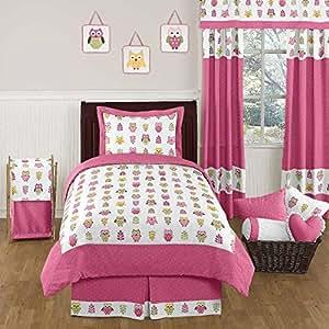 Happy Owl Pink 4 Piece Twin Bedding Set