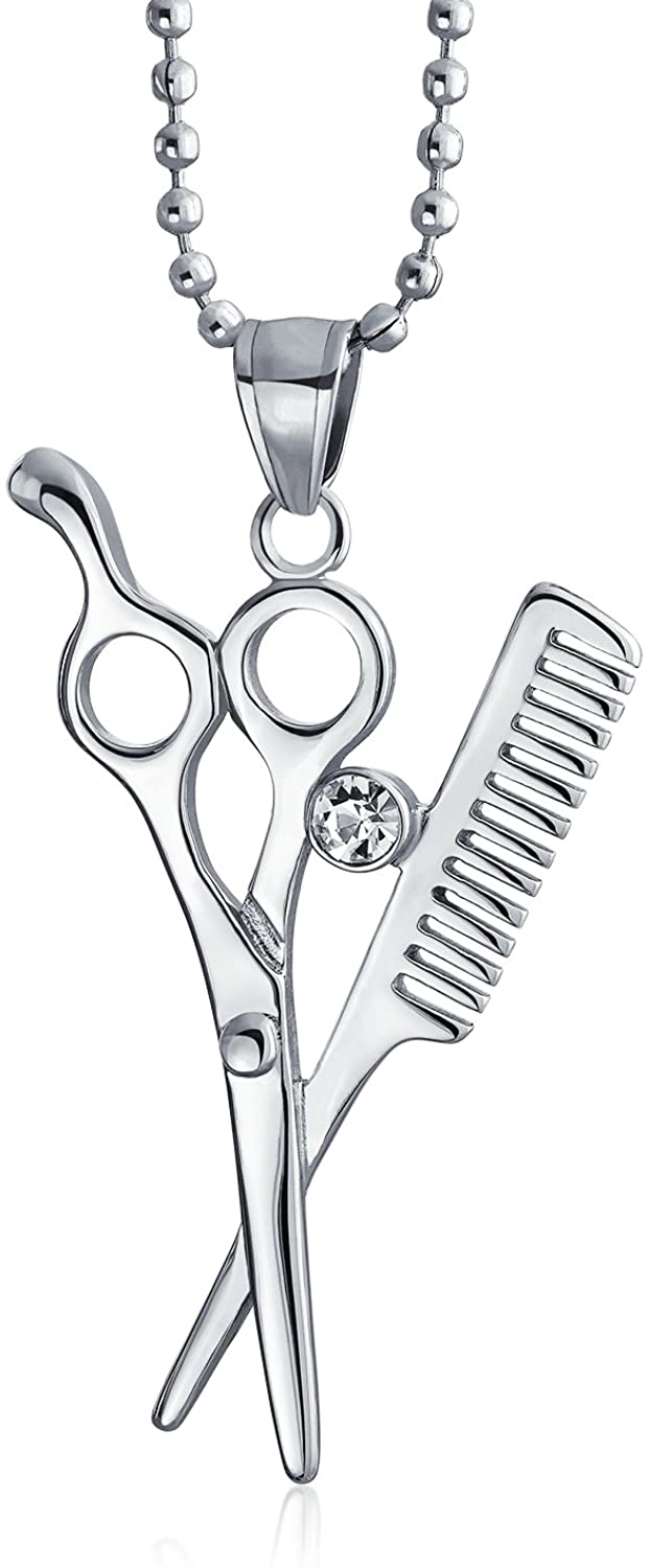 Authentic Genuine Sterling Silver Hairdresser Dangle Charm Comb /& Scissors Charm