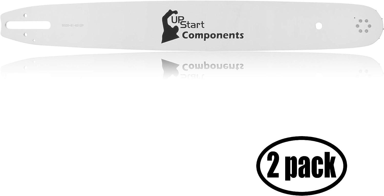 UpStart Components - Juego de 2 Barras de guía para motosierras Stihl 026 Pro (20 Pulgadas de Longitud, Calibre 325, Calibre 81 eslabones, 12 piñones de Nariz)