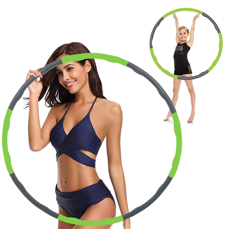 Hula Hoop,Hula Hoops for Adults,Hula Hoop for Weight Loss,Weighted Hula Hoop,Weighted Exercise Hula Hoops for Adults,Hula Hoops Bulk,Professional Soft Fitness Hula Hoops(Green)