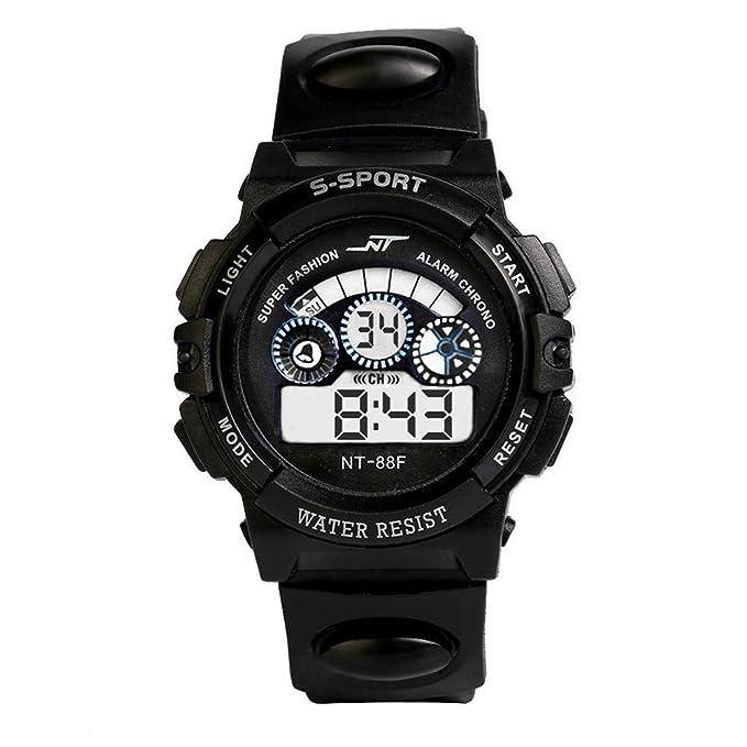 Yivise Hombre Chico Impermeable Digital LED Reloj Cuarzo Alarma Fecha Deportes Correr Clásico Retro Casual Ronda Dail Relojes(F): Amazon.es: Relojes