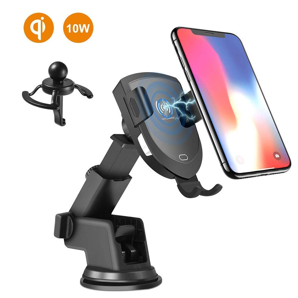 Automatic Clamping Gravity Sensor Car Phone Mount 10W 7.5W Qi Fast Charging Dashboard Air Vent Phone Holder Compatible with iPhone 8//8P//X Wireless Car Charger Mount Samsung Note 8//7//5 Samsung S8+//8