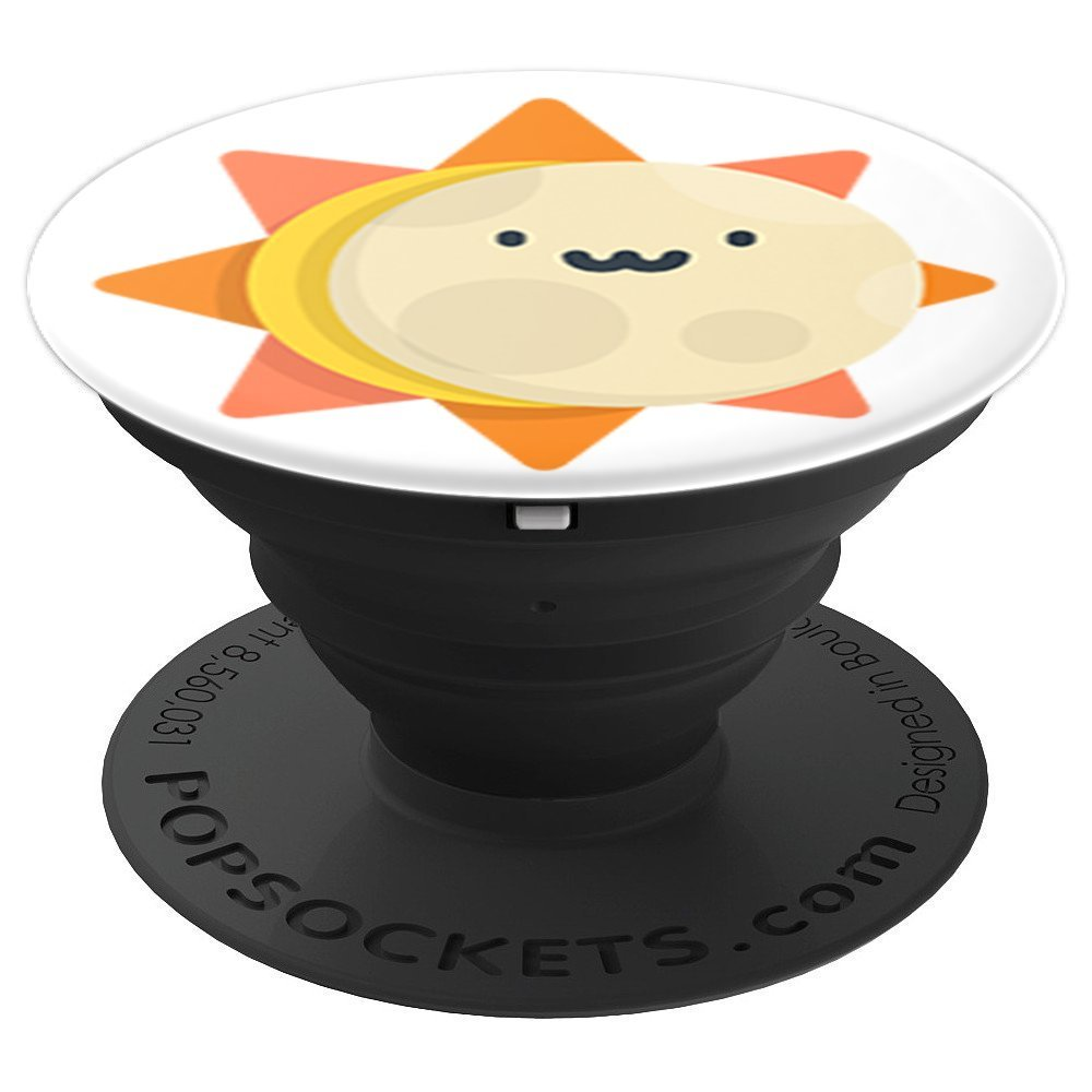 Cute Sun and Moon Total Solar Eclipse - PopSockets Grip and Stand for Phones and Tablets