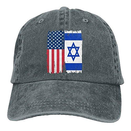 CNnzmJW&YZ-93 American Israel Flag Men Women Classic Cotton Denim Baseball Cap Adjustable Outdoor Sports Hat
