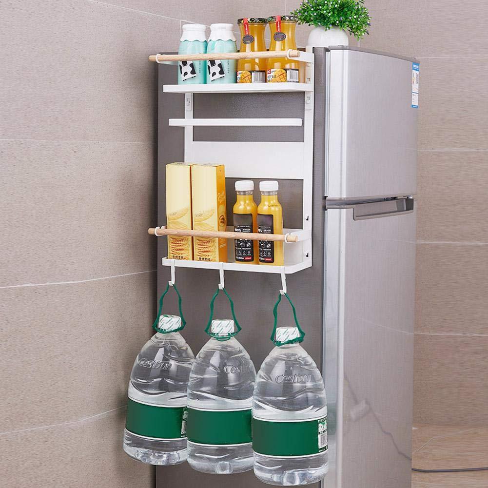Wall Storage Shelves Heavy-Duty Kitchen Spice Jars Holder Paper Towel Cutlery Organizer with 6 Hooks LeKing Refrigerator Magnetic Storage Rack