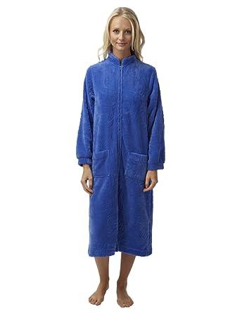 SaneShoppe Ladies Embossed Flannel Fleece Zip Front Dressing Gown ...