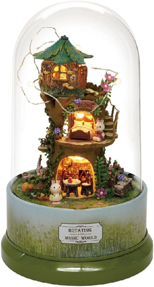 Rylai 3D Puzzles Miniature Dollhouse DIY Kit The Forest Whim Series Rotate with Music Acrylic Dome Dolls Houses Accessories with Furnitur Music Box