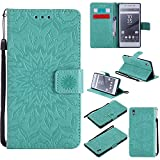 For Sony Xperia Z5 Case [Green],Cozy Hut [Wallet Case] Magnetic Flip Book Style Cover Case ,High Quality Classic New design Sunflower Pattern Design Premium PU Leather Folding Wallet Case With [Lanyard Strap] and [Credit Card Slots] Stand Function Folio Protective Holder Perfect Fit For Sony Xperia Z5 5,2 inch - green