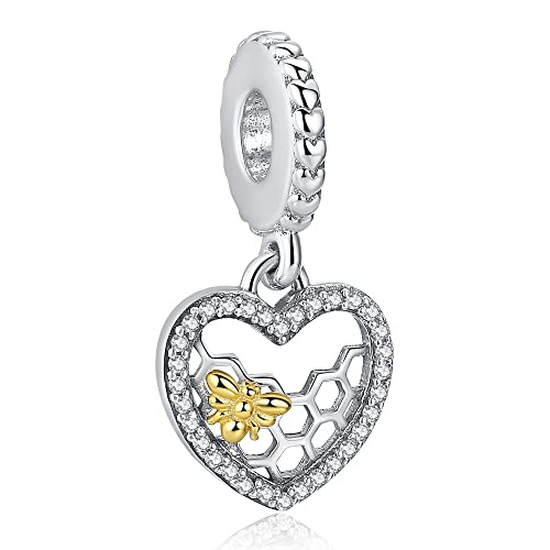 4a7b540d3 ANGELFLY Sterling Silver Honeycomb and Golden Honey Bee Heart Pendant Charms  for European Charm Bracelets