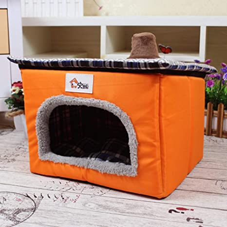 CSDA CSDASuministros para Mascotas Nueva caseta de Perro Teddy yurta mongola Pet,Orange