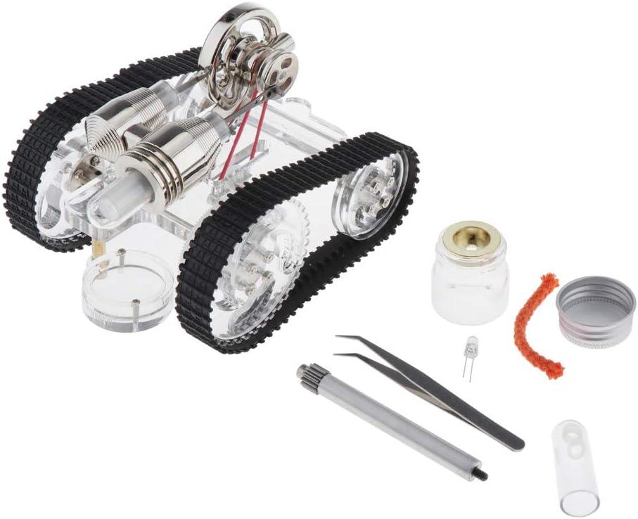 sharprepublic Modelo de Motor Stirling de Tanque Locomotora de Vapor Juguete para Aprendizaje de Ciencia y Física