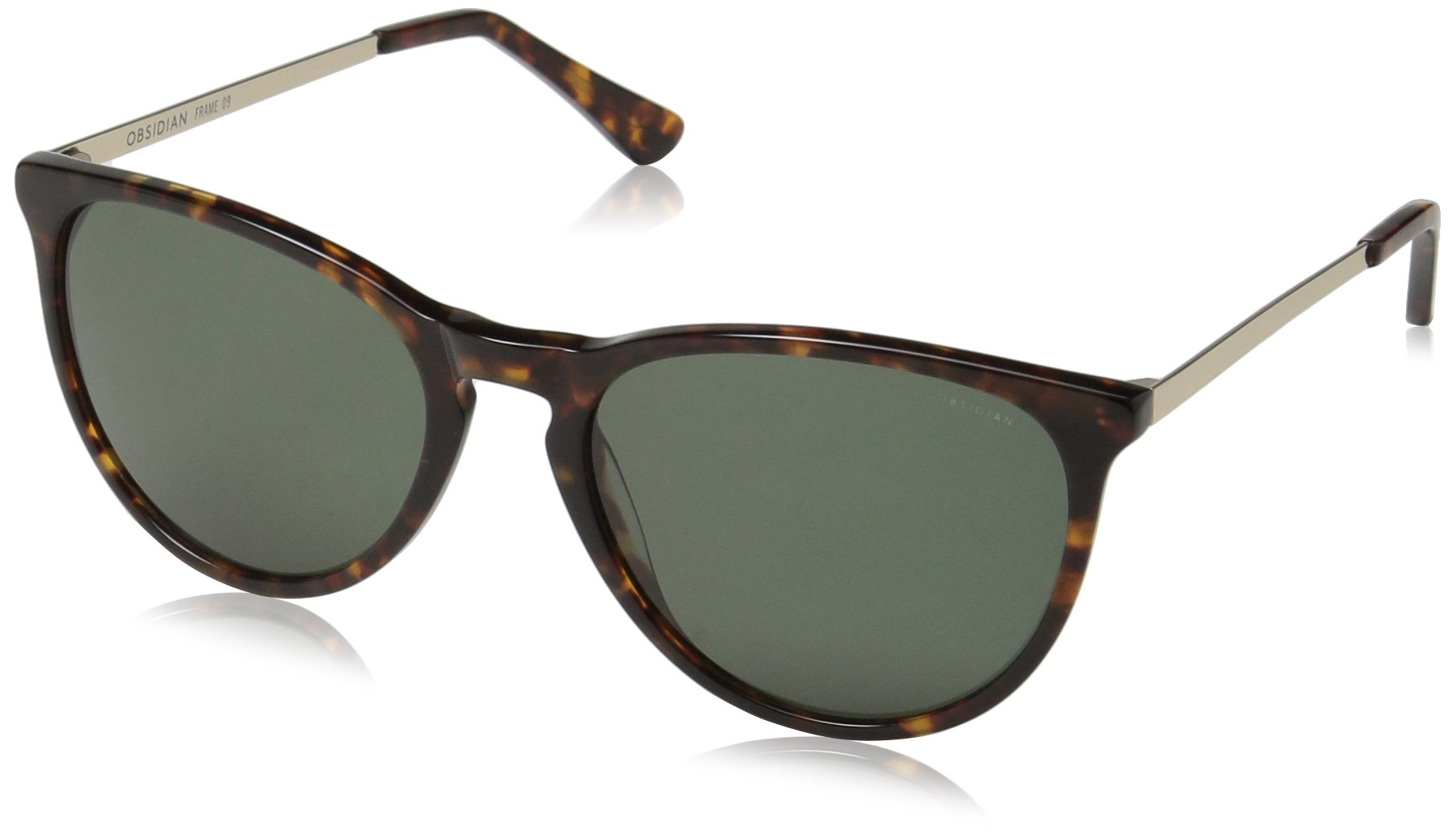 Obsidian Sunglasses for Women Fashion Round Frame 09, Tortoise/Gold, 54 mm