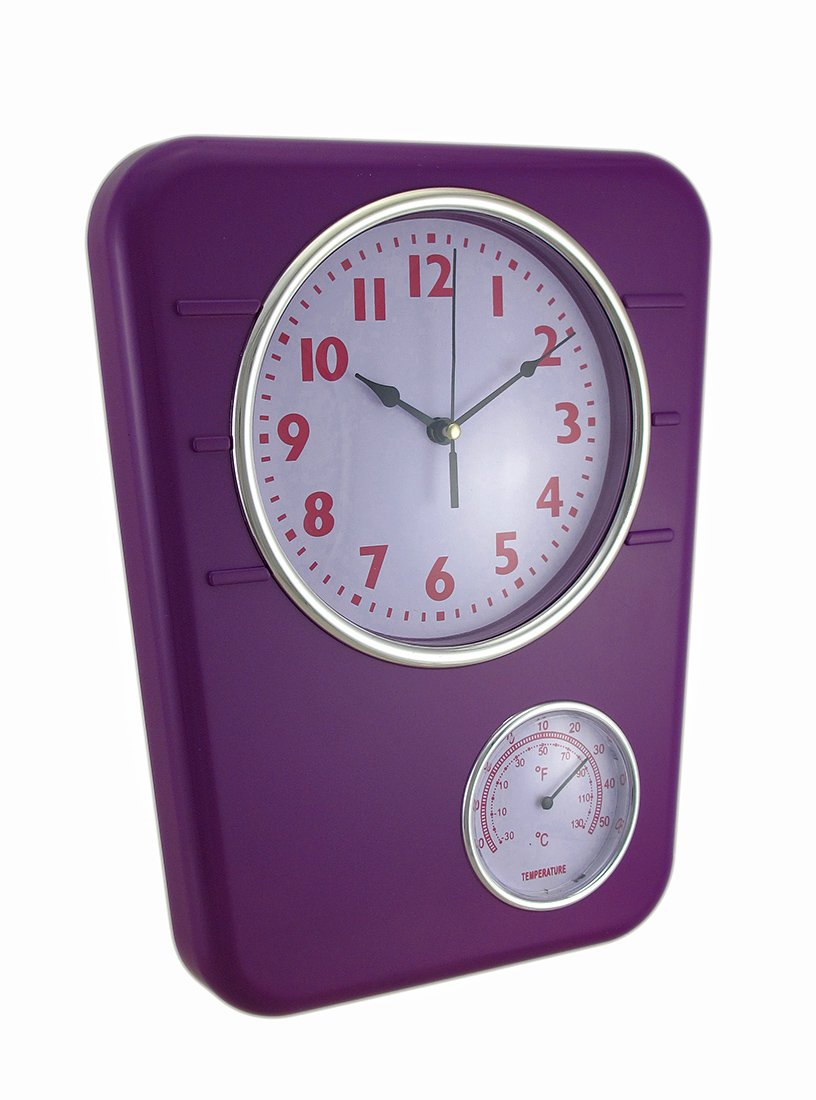 Zeckos Plastic Outdoor Clocks Bright Purple Wall Clock with Temperature Display 9.75 X 12.5 X 1.5 Inches Purple