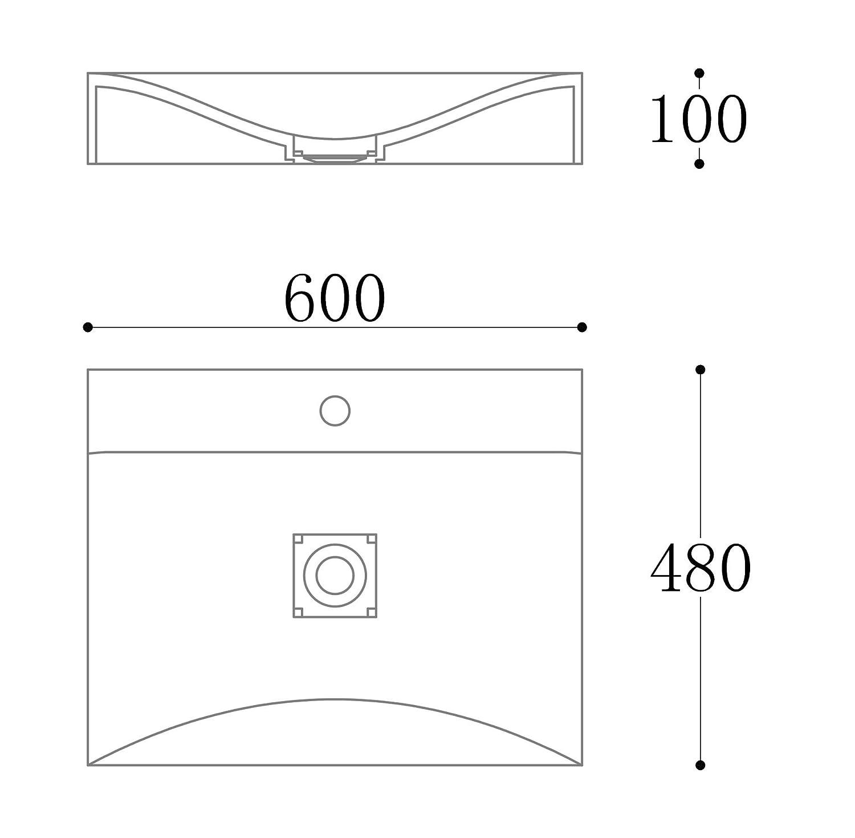 60 cm /… Waschbecken Col810 H/änge-Waschtisch Aufsatz-Waschschale Mineralguss Wei/ß 1 Armaturenloch recht-eckig Breite
