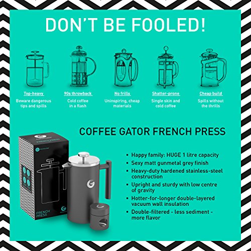 large french press coffee maker double filter vacuum insulated stainless steel with mini. Black Bedroom Furniture Sets. Home Design Ideas