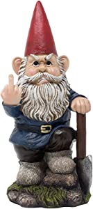 Home 'n Gifts Whimsical Gnome Flipping Off Middle Finger Mini Statue for Outdoor Garden Decor Sculptures As Funny Yard Decorations Or Unique Gifts for Gardeners