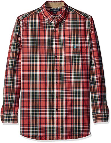 U.S. Polo Assn. Men's Tall Long Sleeve Plaid Poplin Woven Shirt, Pumpkin Patch, 3X Big (Mens 3x Long Sleeve Polo Shirts)