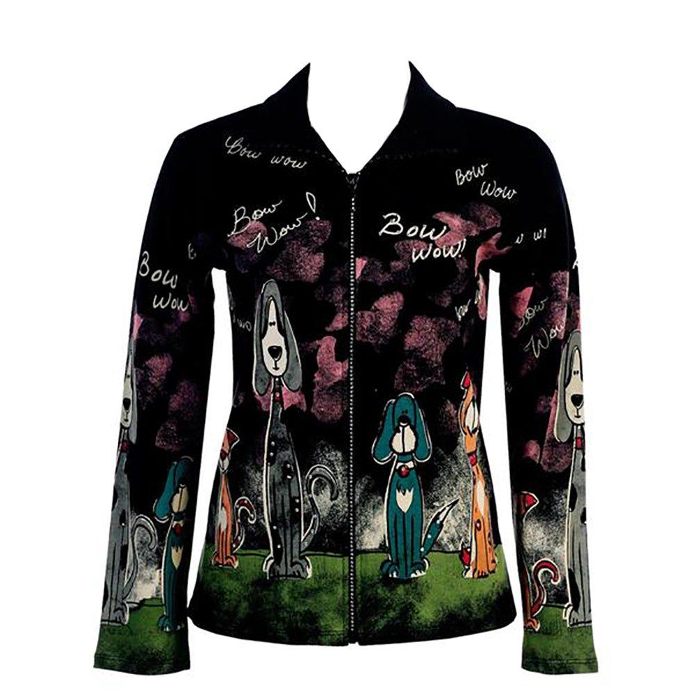 Black Jess N Jane Bow Wow French Terry Ladies Rhinestone Bling Zipper Jacket-3x