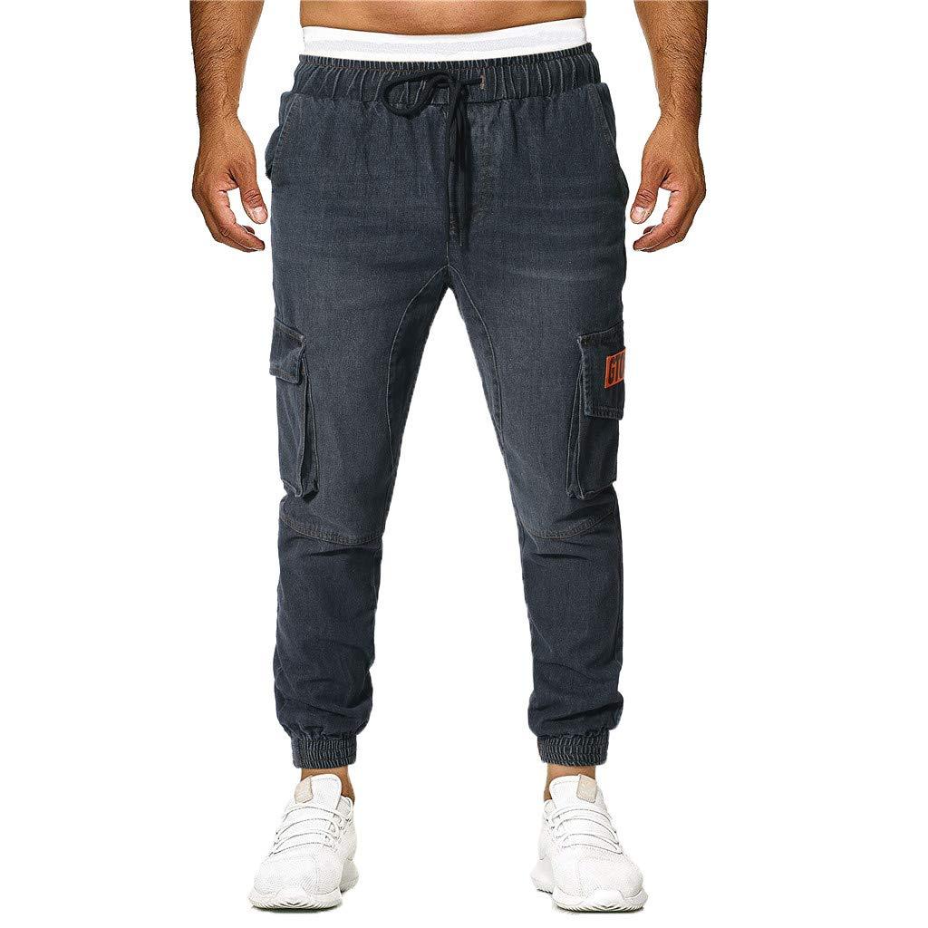 Sunyastor Jogger Cargo Men's Casual Trouser Outdoor Working Sweatpants Drawstring Elasticated Waist Outdoor Hiking Pants Black by Sunyastor men pants (Image #1)