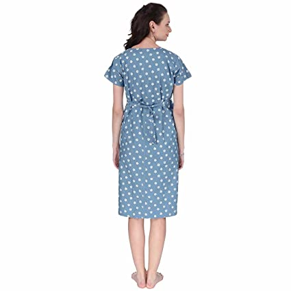 72f7e31ce3f VIXENWRAP Baby Blue Printed Maternity Dress  Amazon.in  Clothing    Accessories