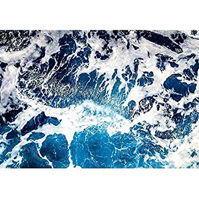 Delightful Visual, Areal Shot of Deep Blue and Rough Sea with Lot of Sea Spray, Made With Love