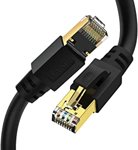 Ethernet Cable Cat8 6ft, LIQUN RJ45 Network Patch Cables, Cat8 LAN Cord 2000Mhz 40Gbps RJ45 Gold Plated Connectors for routers, PC, Mac, laptops, modems,Servers, Games,