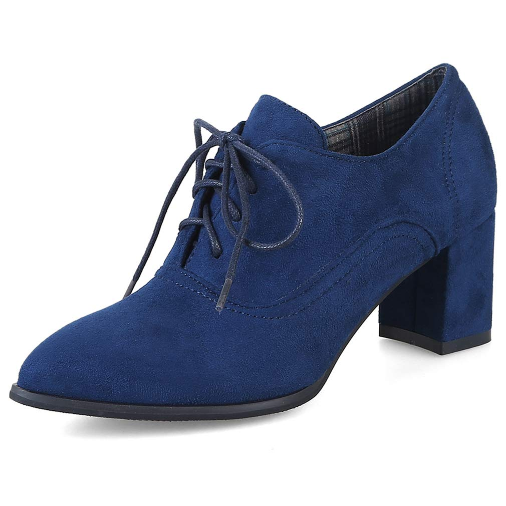 Women's Pointed Toe Oxford Shoes Suede Lace-up Wingtip Platform Chunky High Block Heel Dress Pump Boot