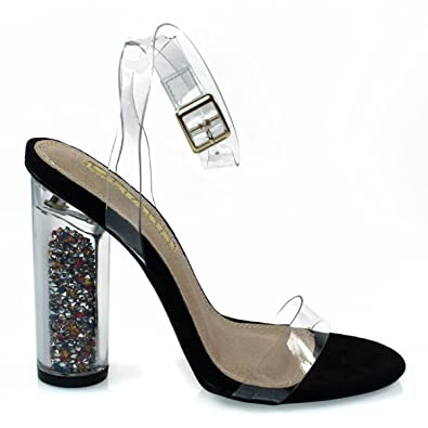 d182b19f4f132 Amazon.com | Multi Color Filling Cylinder Block Perspex Heel, Clear Strap  Dress Sandal | Heeled Sandals