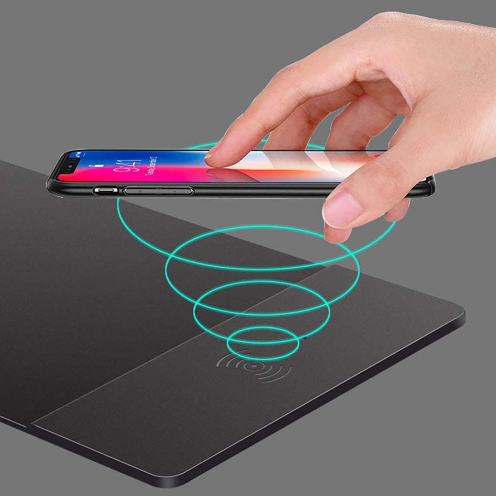 Hbwz Qi Wireless Charger Mouse Mat,2 in 1 Charging Pad Durable Stable Portable Safe Built-in Wireless Charger for All Qi Devices Comperter Android iPhone