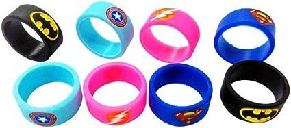 Kesyno Flash Bandas de silicona para vaporizador con dise/ño de superh/éroe de Batman Capit/án Am/érica, Paquete de 4 Superman