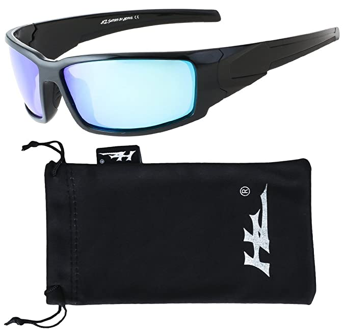 HZ Serie Hyperbull - Gafas de Sol Polarizadas Premium de Hornz - Marco negro brillante - Lente de espejo de hielo azul: Amazon.es: Ropa y accesorios