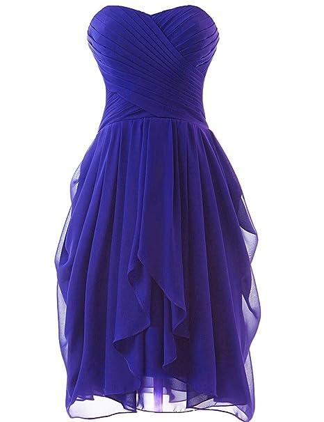 HUINI - Vestido corto sin tirantes para dama de honor, gasa, graduación, color