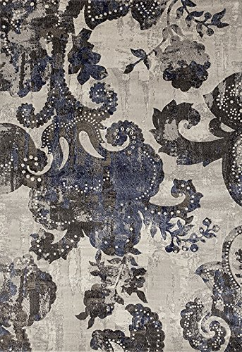 ADGO Ibiza Collection Modern Shades Oriental Floral Distressed Jute Backed Vivid Soft Pile Indoor Bedroom Kitchen Floor Rug, Ivory Living Dining Room Brown Blue, 3 7 x 5 7