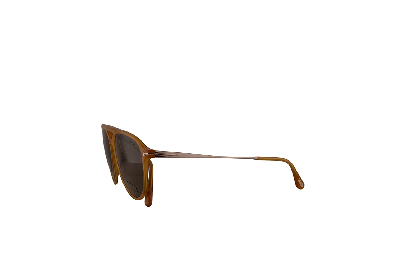 Tom Ford FT0587 Carlo-02 Sunglasses Shiny Yellow w//Brown Lens 39J TF587