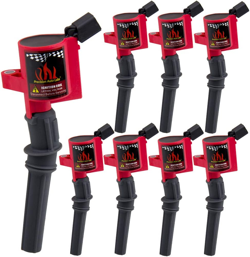 8 Pack Ignition Coil Cuvred Boot for 1997-2017 F150 E150 Explorer,Town Car,Grand Marquis,DG508 DG457,Red