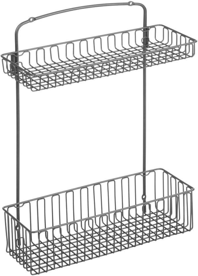 einfach zu montierender Schrankkorb zum Einh/ängen mit zwei Ebenen praktischer Regalkorb aus Stahl mattschwarz mDesign Aufbewahrungskorb f/ür K/üchen- und Badutensilien