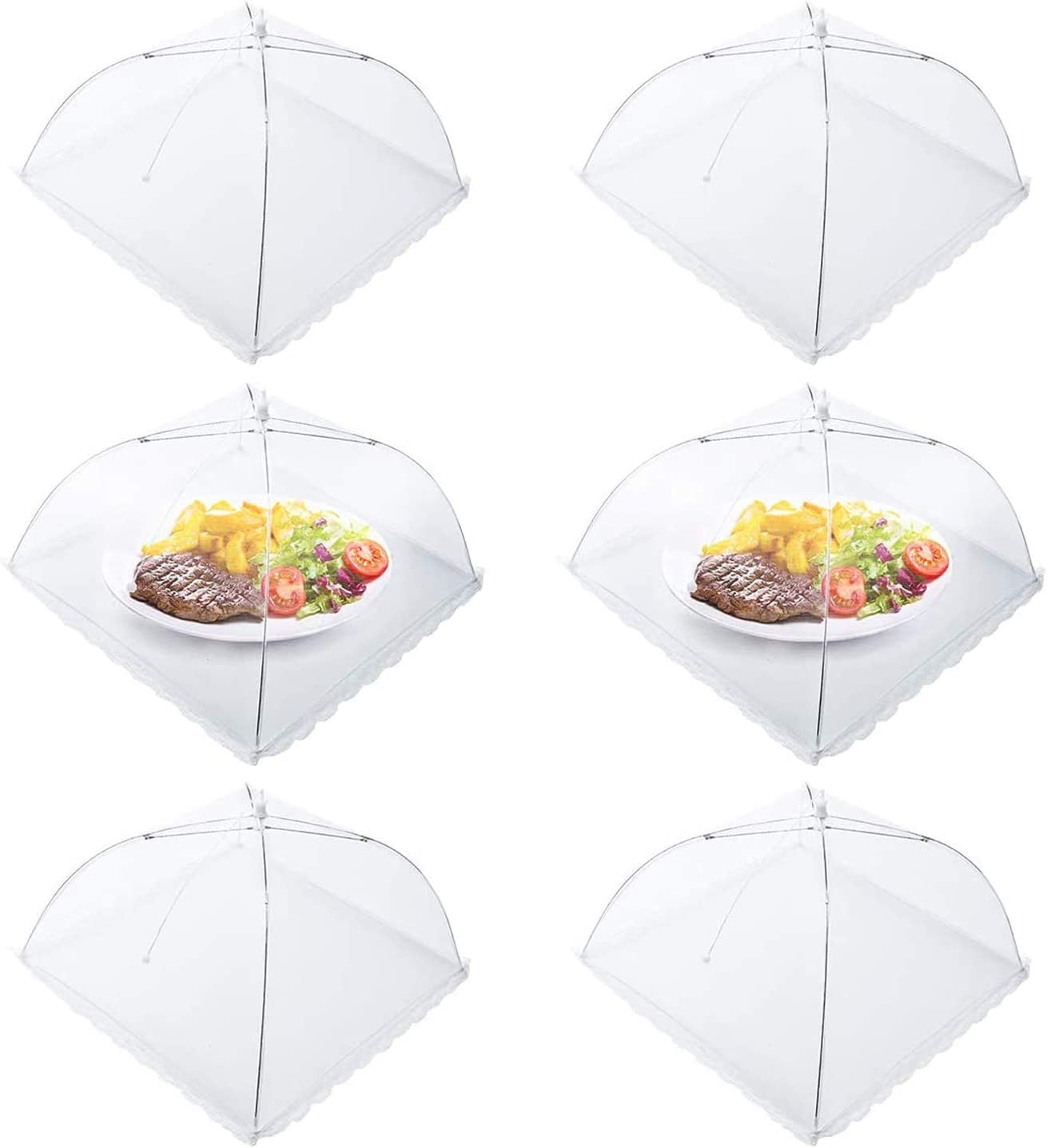 Homealexa Mesh Food Nets Fruit Cover Net 6 Pack, 17 Inch Large and Strong Collapsible Mesh Cake Covers Net, Mesh Food Covers Umbrella for Keeping Out Flies Bugs Mosquitos Food Cover Net