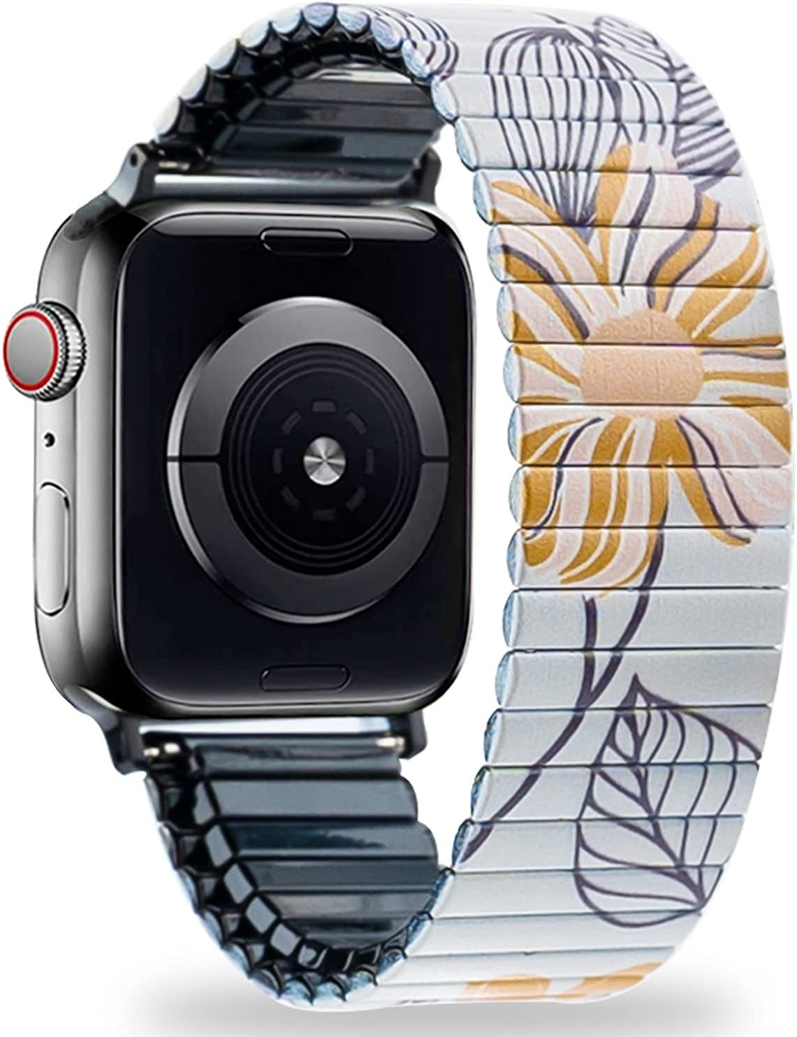 LEPASIVE Stretchy Band Stainless Steel Compatible with Apple Watch Series 38MM / 40MM, Metal Expansion Elastic Watchband with Cute Floral Print Replacement for Apple iWatch SE/6/5/4/3/2/1